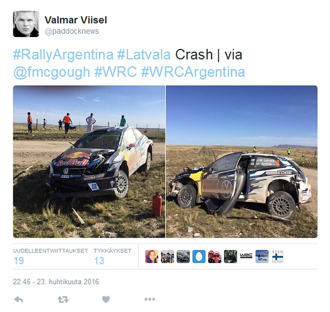 Jari-Matti Latvala Argentiina 2016 ulosajo