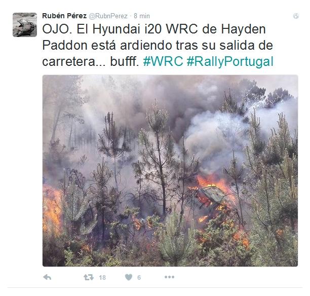 Hayden Paddon WRC 2016 ulosajo Twitter Portugali